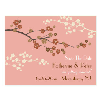Plum Blossom Save The Date Announcement Postcard P