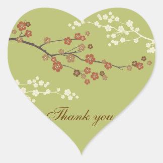 Plum Blossom Thank You Heart Sticker Light Green