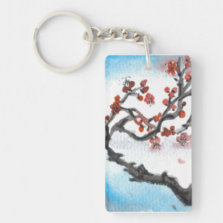 Plum Blossoms and Blue Sky Keychain