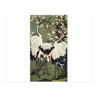 Plum Blossoms and Cranes by Ito Jakuchu Postcard