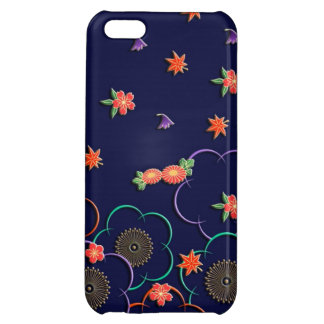 Plum blossoms and leaves on dark blue iPhone 5C cases