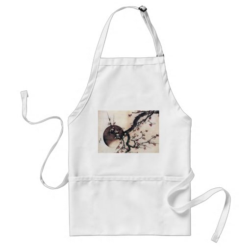Plum Blossoms and the Moon, Hokusai Adult Apron