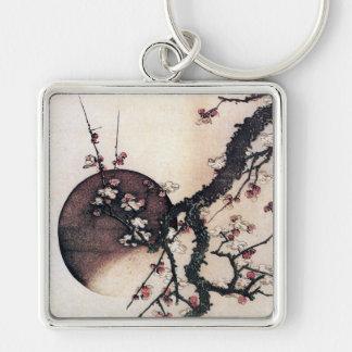 Plum Blossoms and the Moon, Hokusai Key Chain