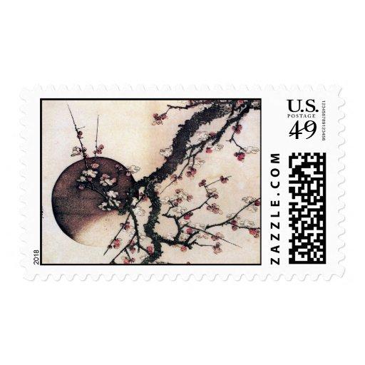 Plum Blossoms and the Moon, Hokusai Postage