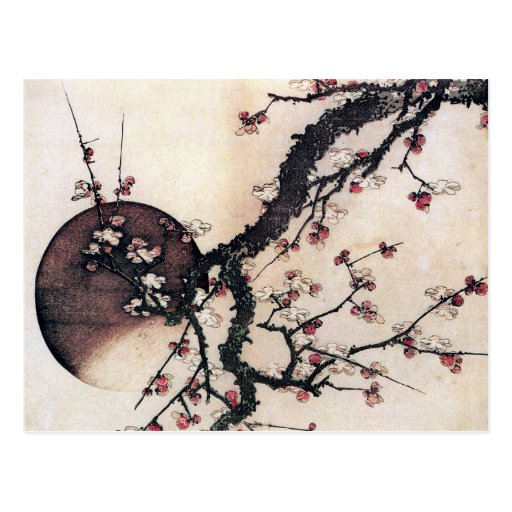 Plum Blossoms and the Moon, Hokusai Postcard