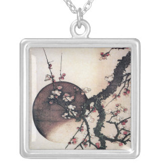 Plum Blossoms and the Moon, Hokusai Silver Plated Necklace