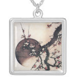 Plum Blossoms and the Moon, Hokusai Square Pendant Necklace