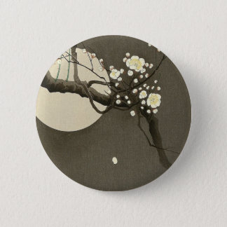 Plum Blossoms at Night by Ohara Koson Elegant Button
