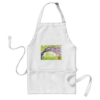 Plum Blossoms in Green Adult Apron