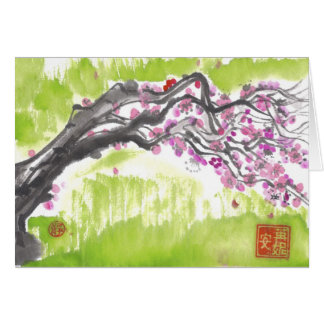 Plum Blossoms in Green Greeting Card