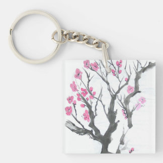 Plum Blossoms in Spring Single-Sided Square Acrylic Keychain