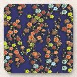 Plum blossoms on blue coaster