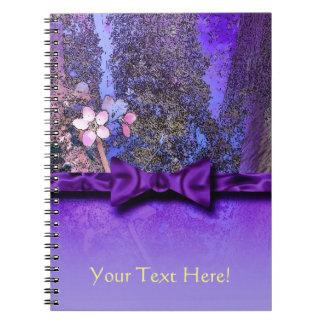 Plum Blossoms Purple Ribbon Spiral Note Book