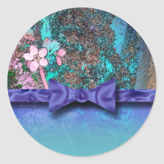 Plum Blossoms Ribbon Blue Classic Round Sticker