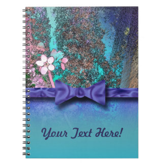Plum Blossoms Ribbon Blue Spiral Notebooks