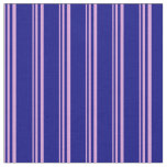 [ Thumbnail: Plum & Blue Colored Lined/Striped Pattern Fabric ]