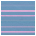 [ Thumbnail: Plum & Blue Colored Stripes/Lines Pattern Fabric ]