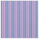 [ Thumbnail: Plum & Blue Striped/Lined Pattern Fabric ]