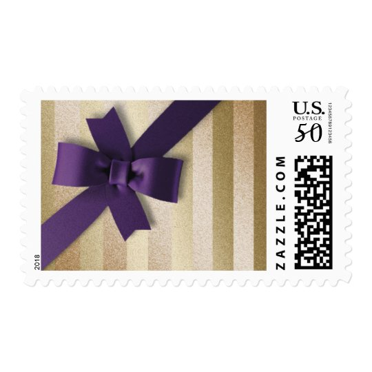 Plum Bow Gold Stripe Postage Stamp