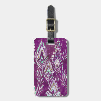 Plum Brave Feather Tribal Print Luggage Tag