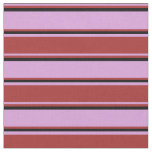 [ Thumbnail: Plum, Brown & Black Colored Lines Pattern Fabric ]