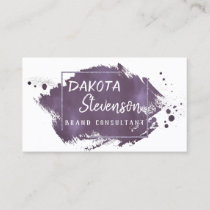 Plum Brush Stroke | Modern Purple Trendy Splatter Business Card