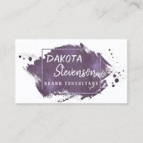 Plum Brush Stroke | Modern Purple Trendy Splatter Business Card