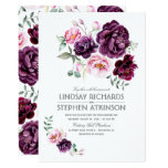 Plum Burgundy And Blush Floral Watercolor Wedding Card at Zazzle