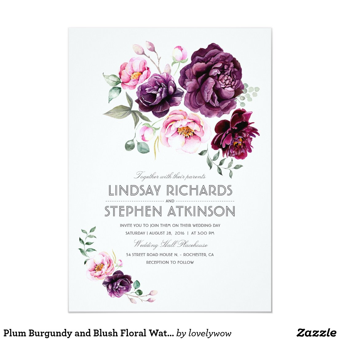 Rustic Boho Wedding Invitation with Purple Burgundy and Blush Flowers