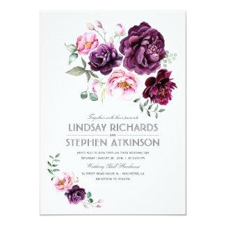 Rustic Boho Wedding Invitation with Purple Burgundy and Blush Flowers