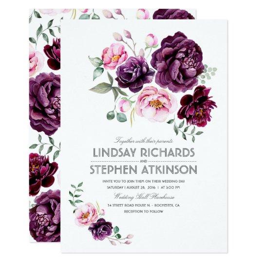 Rustic Burgundy Purple Floral Script Wedding Invitations: Plum Burgundy And Blush Floral Watercolor Wedding