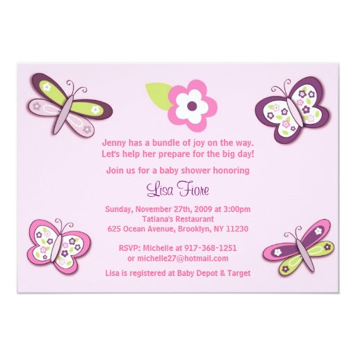 Plum Butterfly Dragonfly Baby Shower Invitations   Zazzle