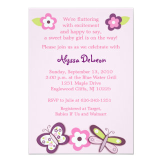 Plum Butterfly Dragonfly Baby Shower Invitations