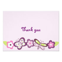 Plum Butterfly Dragonfly Flat Thank You Note Cards