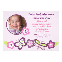 Plum Butterfly Flower Photo Birthday Invitations