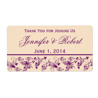 Plum Champagne Floral Scroll Water Bottle Label Shipping Label