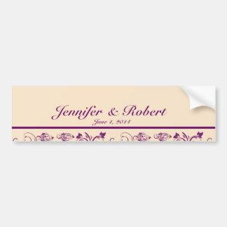 Plum Champagne Floral Scroll Wedding Water Bottle Bumper Sticker