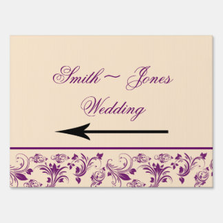 Plum Champagne Scroll Wedding Direction Sign