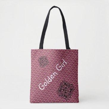 Beach Themed Plum Chic Gold Dots bag for beach or shopping