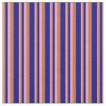 [ Thumbnail: Plum, Chocolate & Blue Stripes Fabric ]