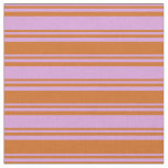[ Thumbnail: Plum & Chocolate Stripes Fabric ]