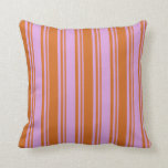 [ Thumbnail: Plum & Chocolate Stripes Throw Pillow ]