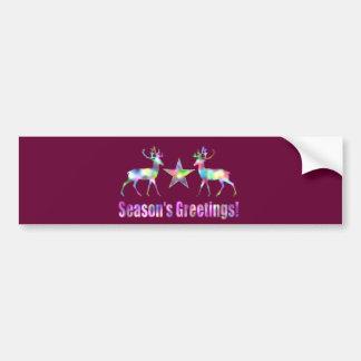 Plum Christmas Reindeer Season's Greetings Bumper Sticker