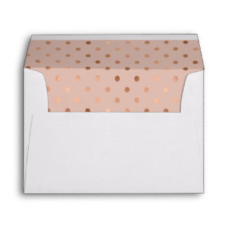 Plum Colored Rose Gold Polka Dots Lined Envelope