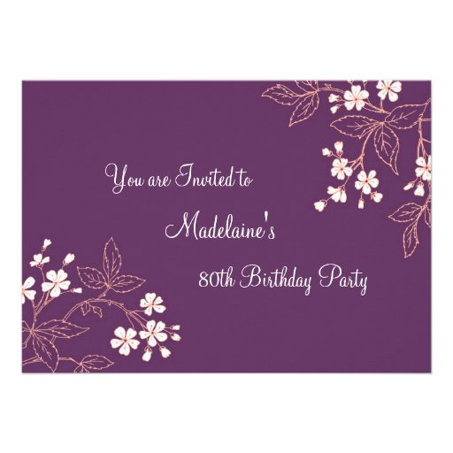 Plum Coral Floral 80th Birthday Party Invitations
