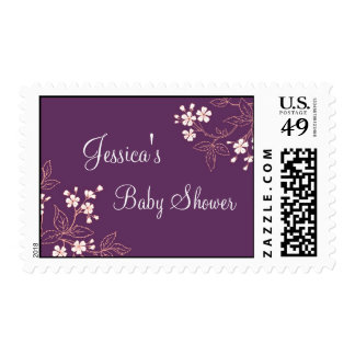Plum Coral Floral Custom Baby Shower Stamps