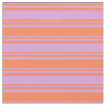 [ Thumbnail: Plum & Coral Stripes Fabric ]