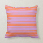 [ Thumbnail: Plum & Coral Stripes Throw Pillow ]