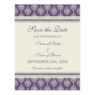 Plum Cream Save the Date Wedding Postcards