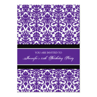 Plum Damask 35th Birthday Party Invitations